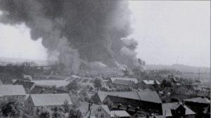 Nach dem Bombenangriff 1944 auf Rositz