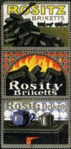 Werbemarken Rositz Briketts