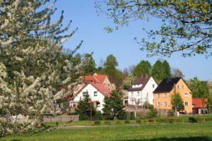Frühling, Blick auf Fichtenhainichen